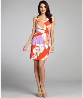 Donna Morgan valencia orange printed jersey mock wrap dress