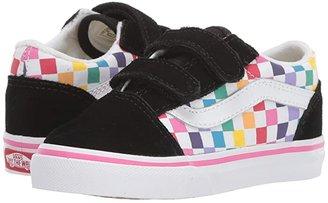 Vans Kids Old Skool V (Infant/Toddler) ((Checkerboard) Rainbow/True White) Girls Shoes