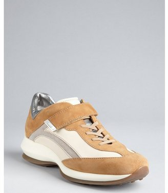 Tod's camel and white leather-suede strapped wedge sneakers