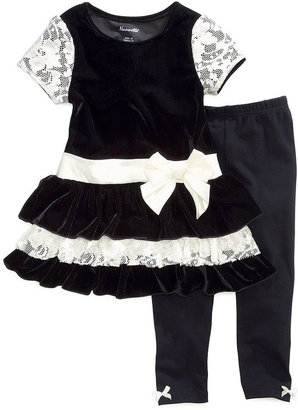 Nannette Kids Set, Little Girls 2-Piece Velvety Lace Tunic and Leggings