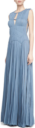 J. Mendel Sleeveless Hand-Pleated Gown, Heron Blue