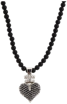 King Baby Studio Large 3D Black CZ Pav Crowned Heart (Silver) - Jewelry