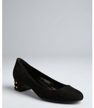 Gucci black suede 'Jacquelyne' studded low heel pumps