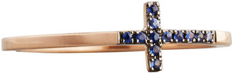 Sydney Evan 14k Rose Gold Pave Sapphire Cross Ring