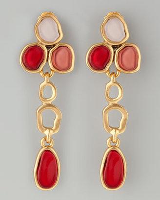 Oscar de la Renta Resin Cabochon Earrings, Cinnabar