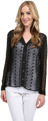 Zoa Button Front Blouse in Black