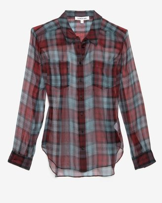 Elizabeth and James Sheer Organza Plaid Pattern Blouse