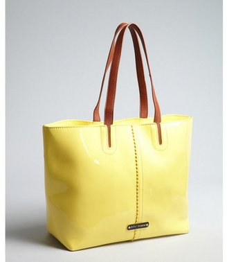 Betsey Johnson yellow faux patent leather 'Sweet Tart' tote