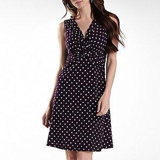 Connected Apparel Criss Cross Dot Dress-Petite