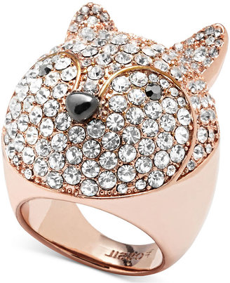Fossil Ring, Rose Gold-Tone Crystal Pave Fox Dome Ring