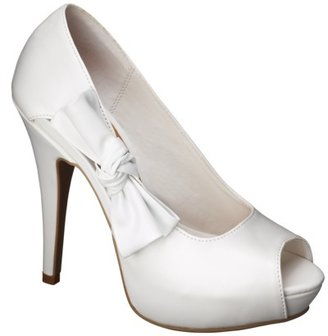 Xhilaration Women's Polly Open Toe Pumps with Side Bow - White