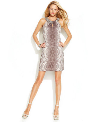 INC International Concepts Embellished Twisted-Neck Printed Dress