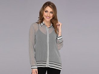 Vince Camuto Women's Long-Sleeve Button-Front Geo-Border Blouse