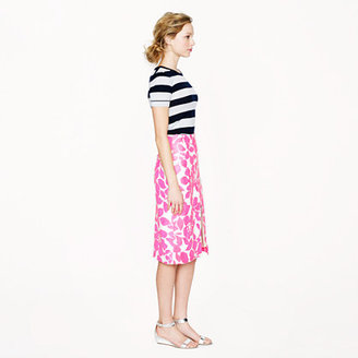 J.Crew Collection leather skirt in hibiscus floral