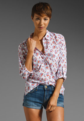 C&C California Calico Floral Roll Sleeve Shirt