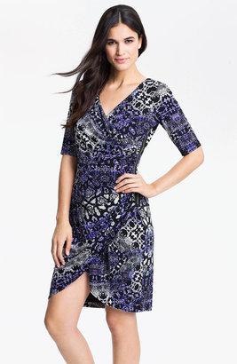 Maggy London Python Print Jersey Faux Wrap Dress