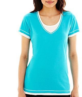 JCPenney XersionTM Layered Scoopneck Tee