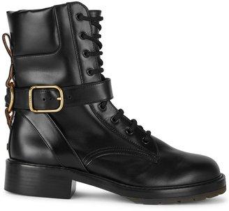 Chloé Diane Black Leather Biker Boots
