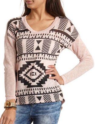 Charlotte Russe Aztec Hacci Knit Top