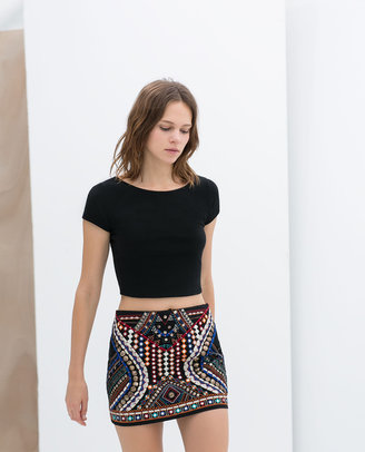 Zara Mini Skirt With Beads