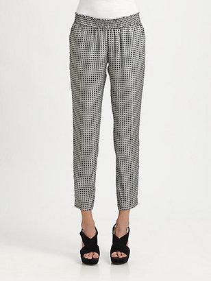 Joie Cheney Geo-Printed Silk Pants