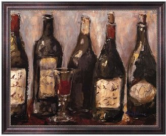 "KitchenArt ""Wine Bar with French Glass"" Framed Canvas Wall Art by Nicole Etienne"