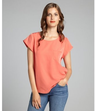 Zoa clemintine patch pocketed short sleeve blouse