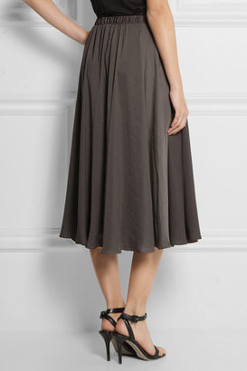 Halston Leather-trimmed satin-twill midi skirt