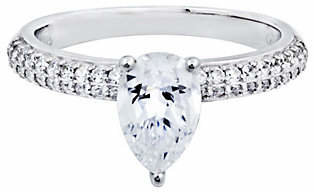 Diamonique Pear Shaped Solitaire Ring, Platinum