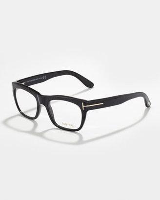 Tom Ford Unisex Semi-Squared Fashion Glasses, Black