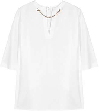 Givenchy White Chain-embellished Cotton Top