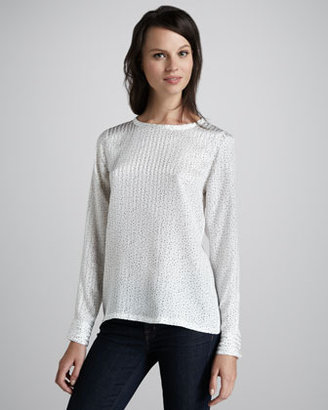 Equipment Liam Dotted Silk Top