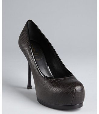 Yves Saint Laurent charcoal snake embossed leather platform pumps