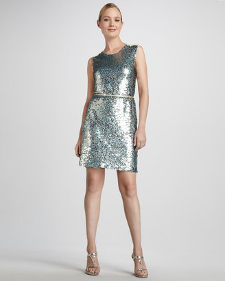 Pamella Roland Sequined Illusion-Back Cocktail Dress