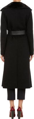 Fendi Mink Collar Wrap-Front Long Coat
