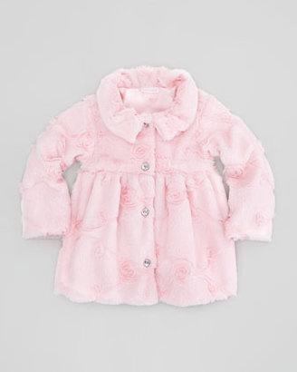 cachcach Poppy Seed-Swirls Faux-Fur Coat, Pink, 12-24 Months