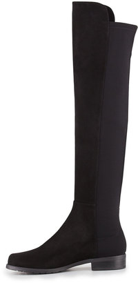 Stuart Weitzman 50/50 Narrow Suede Over-the-Knee Boot, Black