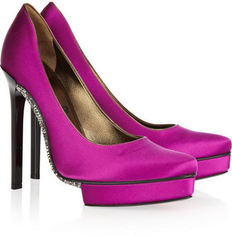 Lanvin Crystal-embellished satin pumps