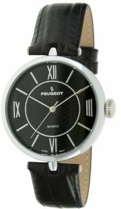 Peugeot Women Large Easy to Read Dial Wrist Watch with Roman Numerals & Leather Band Strap