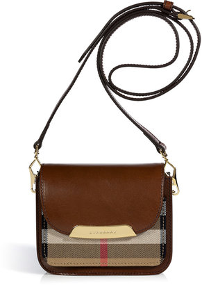 Burberry Dark Tan Bridle Leather House Check Crossbody Bag