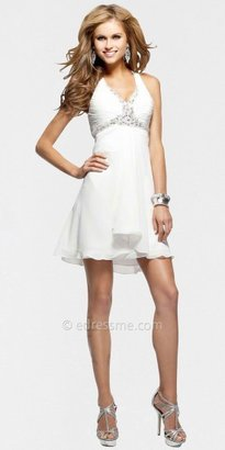 Faviana Beaded Ruched Bust Halter Mini Cocktail Dresses