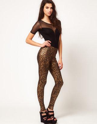 Asos Leggings In Metallic Leopard Print