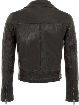 Topman Charcoal Leather Quilted Biker Jacket