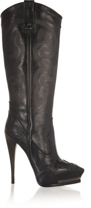 Lanvin Embroidered leather cowboy boots