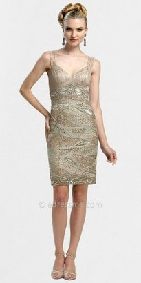 Sue Wong Short V-Neck Sheath Dress with All Over Beading and Embroidery
