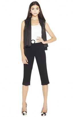 Alice + Olivia Adria Leather Sleeveless Drop Shoulder Loose Body Jacket