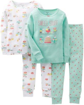 Carter's 4 Piece Pant PJ Set (Toddler/Kid) - Tea Party-2T
