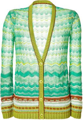 Missoni Emerald and Ocean Multicolor V-Neck Cardigan