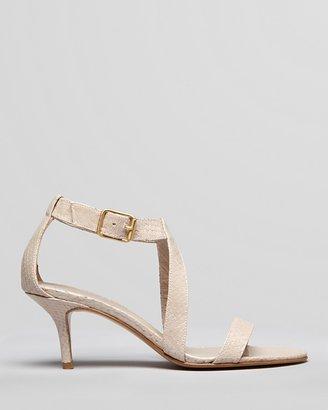Delman Sandals - Iridescent Printed Python Mid Heel