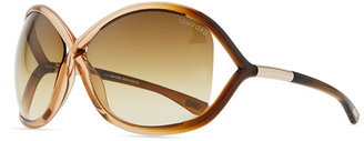 Tom Ford Whitney Cross-Bridge Sunglasses, Rose/Brown